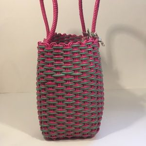 Lilly Pulitzer Bags - Rare Lilly Pulitzer plastic wicker tote pink!green